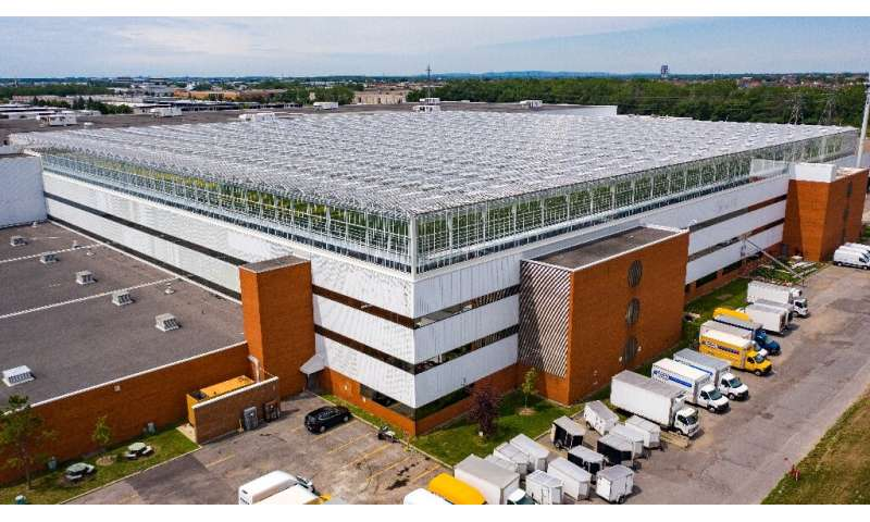 Lufa Farms just opened what it says is the world's largest commercial rooftop greenhouse, seen in this aerial photo in Montreal