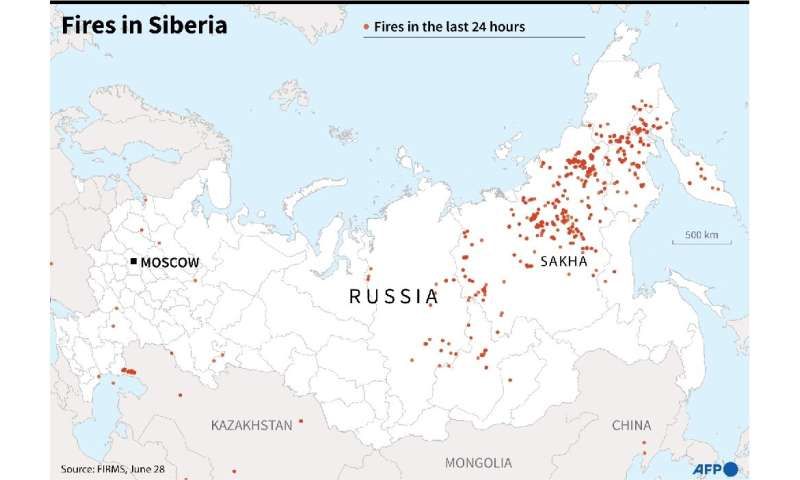 Map of Russia showing fires in Sibera during the last 24 hours