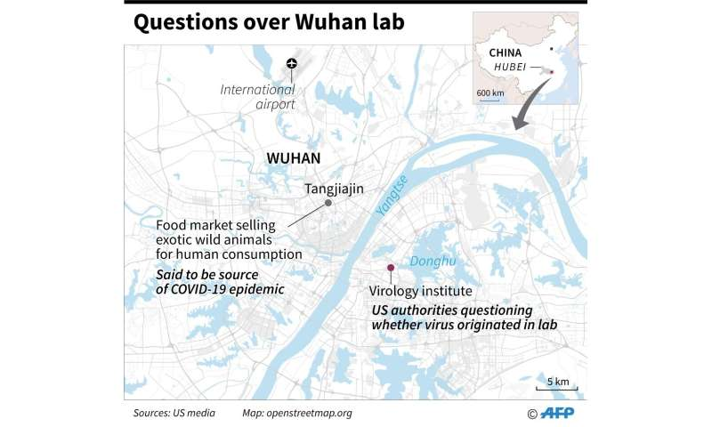 Map of Wuhan locating the virology institute and the food market selling wild animals for human consumption