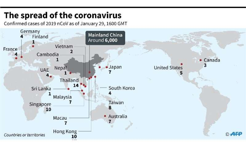 Map showing countries and territories where cases of the China virus have been confirmed, as of 1600 GMT, January 29, 2020