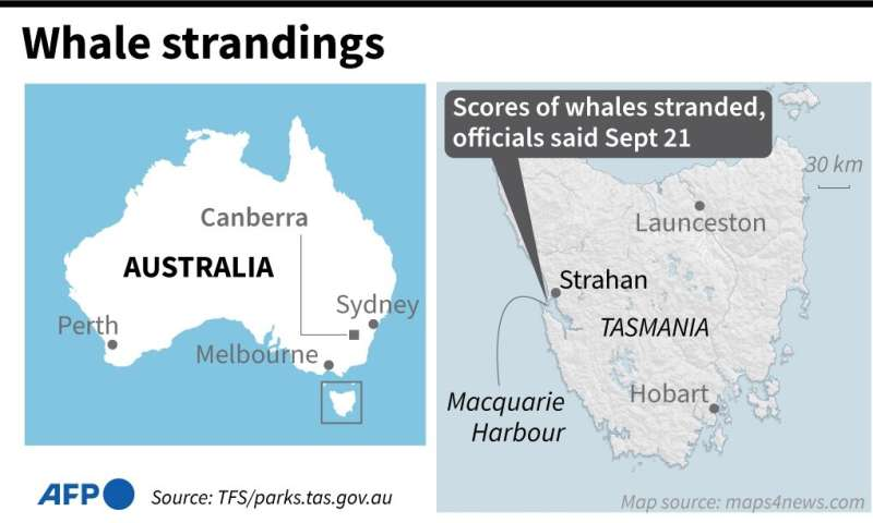 Map showing Macquarie Harbour on the Australian island of Tasmania, where hundreds of whales have become stranded, according to