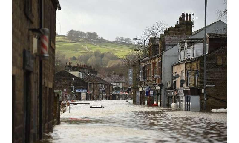 Mytholmroyd in northern England was flooded after the River Calder burst its banks