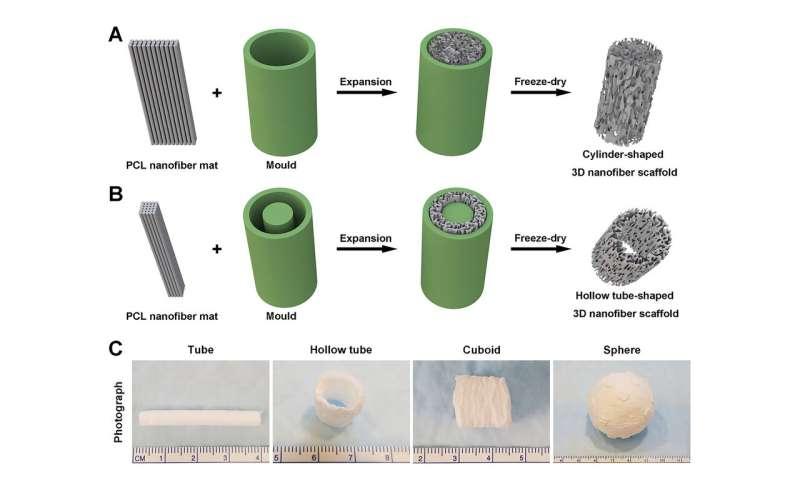 Nanofiber membranes transformed into 3D scaffolds