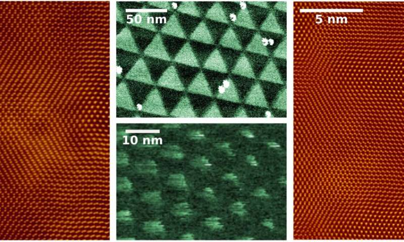 Nanopatterning electronic properties of twisted 2-D semiconductors using twist