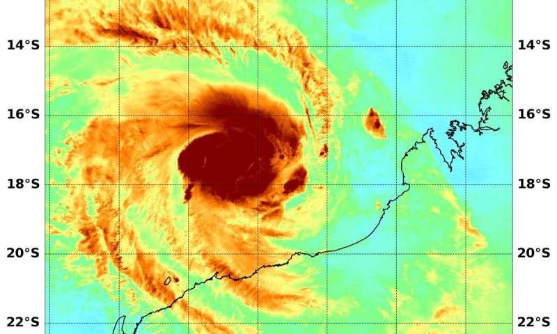 NASA analyzes tropical cyclone Damien's water vapor concentration