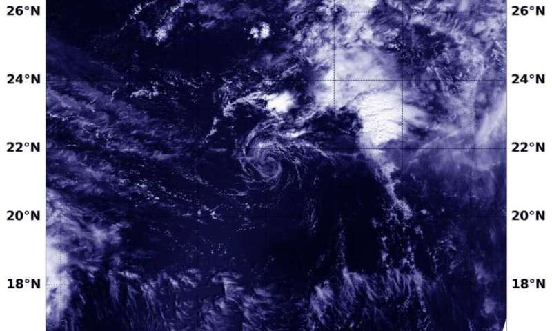 NASA finds a fading wispy Tropical Depression Vicky