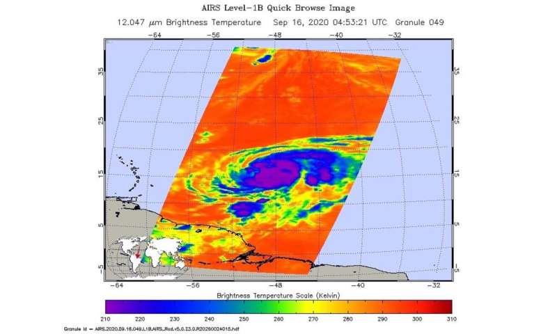 NASA finds coldest cloud tops on hurricane Teddy's western side