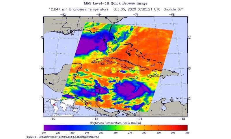 NASA gages Tropical Storm Delta's strength in infrared