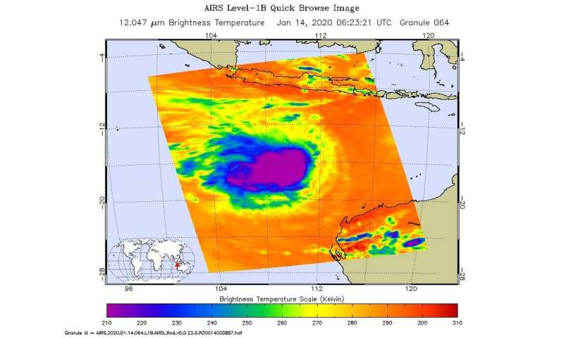 NASA infrared data analyzes cloud top temperatures in Tropical Cyclone Claudia