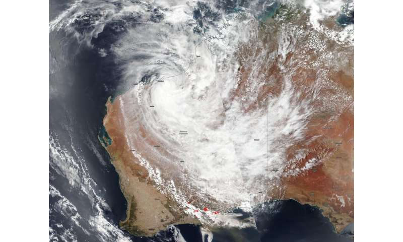 NASA-NOAA satellite catches Tropical Cyclone Blake and western Australia fires