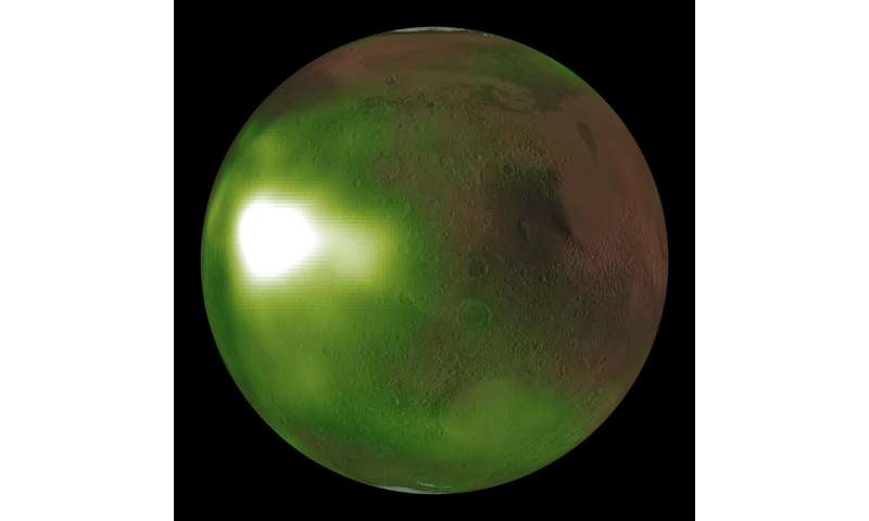 NASA's Maven observes martian night sky pulsing in ultraviolet light