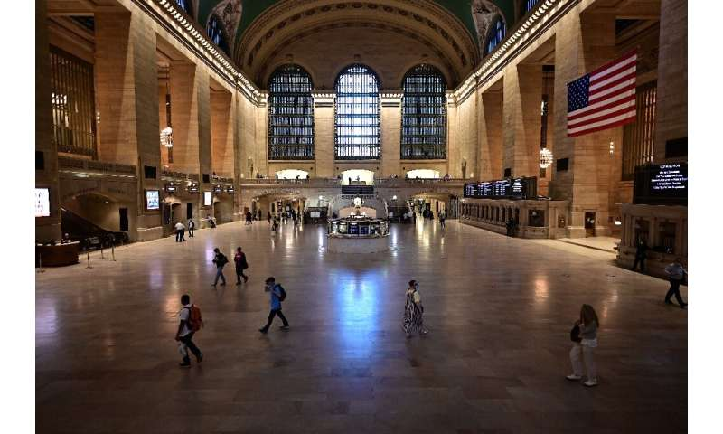 New York is far from being back to normal, its Grand Central station almost empty of commuters on Wednesday
