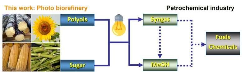 Novel photocatalytic method converts biopolyols and sugars into methanol and syngas
