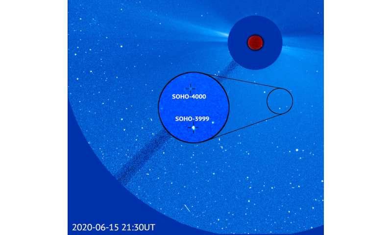 Télescope NRL à bord de l'ESA, la NASA SOHO découvre la 4000e comète