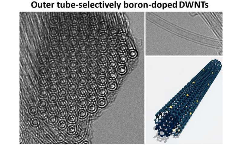 Outer tube-selectively boron-doped double-walled carbon nanotubes for thermoelectric applications