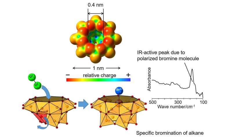 Polarization of Br2 molecule in vanadium oxide cluster cavity and new alkane bromination