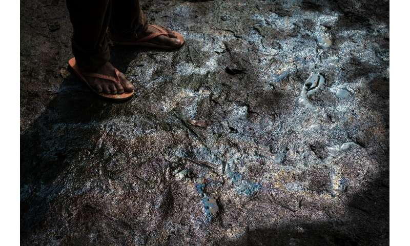 Pollution: Low tide exposes oily mud on a river bed in K-Dere, a village in the Niger Delta region