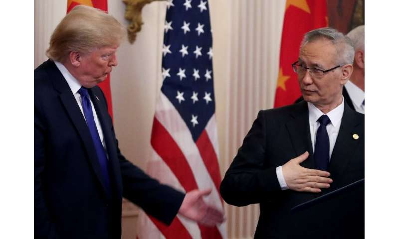 President Donald Trump stands with Chinese Vice Premier Liu He, before signing a preliminary trade deal between the US and China