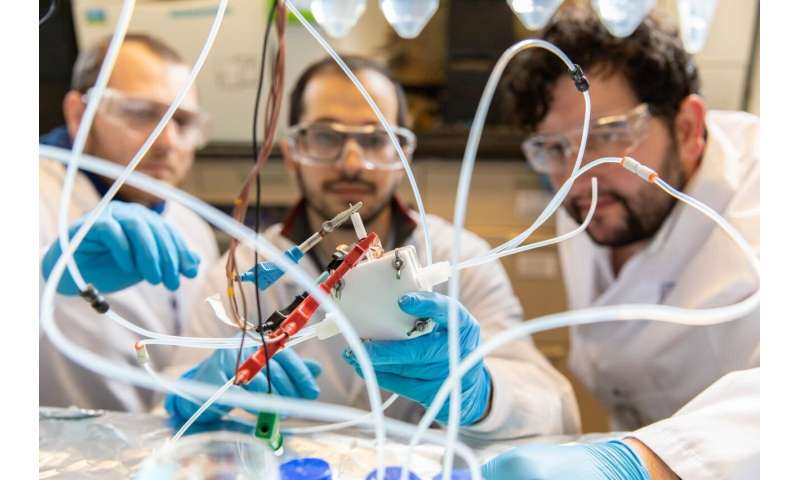 'Reverse fuel cell' converts waste carbon to valuable products at record rates