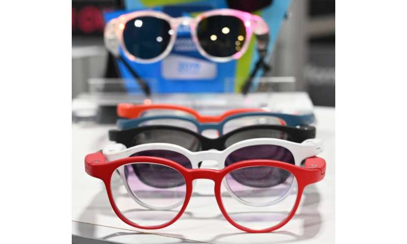 Serenity smart eyeglasses from France-based startup Ellcie Healthy are displayed  at the 2020 Consumer Electronics Show