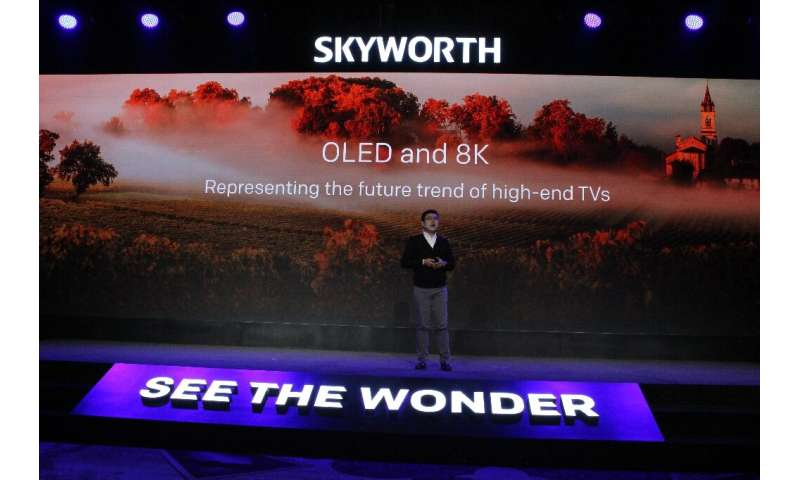 Skyworth chief executive Tony Wang unveils premium 8K TV models at the Consumer Electronics Show