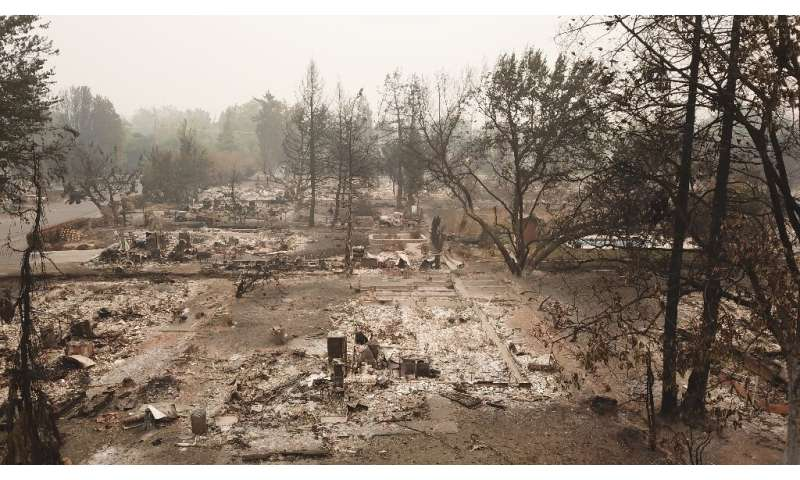 The Almeda Fire in Talent, Oregon, destroyed multiple local properties, pictured September 15, 2020