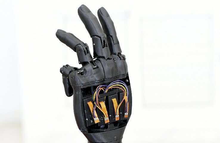 The bionic hand is made of Lego-like parts that can be replaced if damaged or to match a child's physical growth