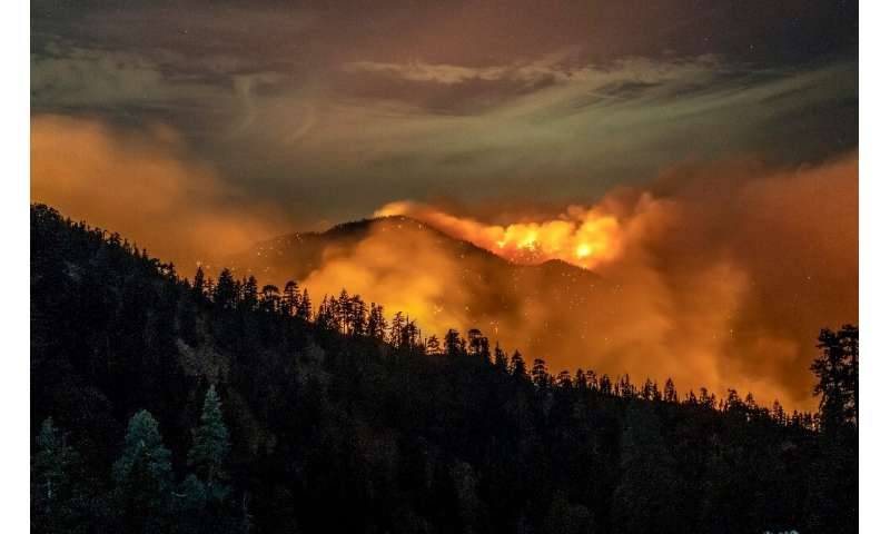 The Bobcat Fire burns through the Angeles National Forest in Los Angeles County on September 17, 2020