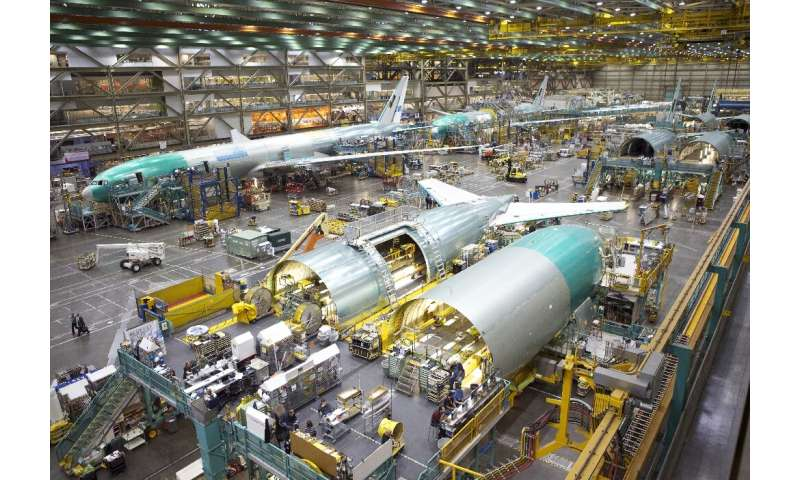 The Boeing 777 assembly line in Everett, Washington is pictured in 2012