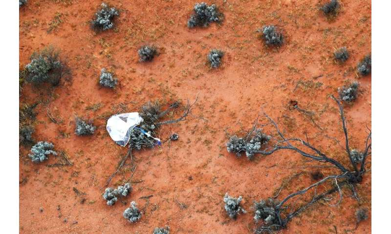 The capsule carrying the asteroid samples landed in the desert in South Australia soon after it entered the earth's atmosphere a