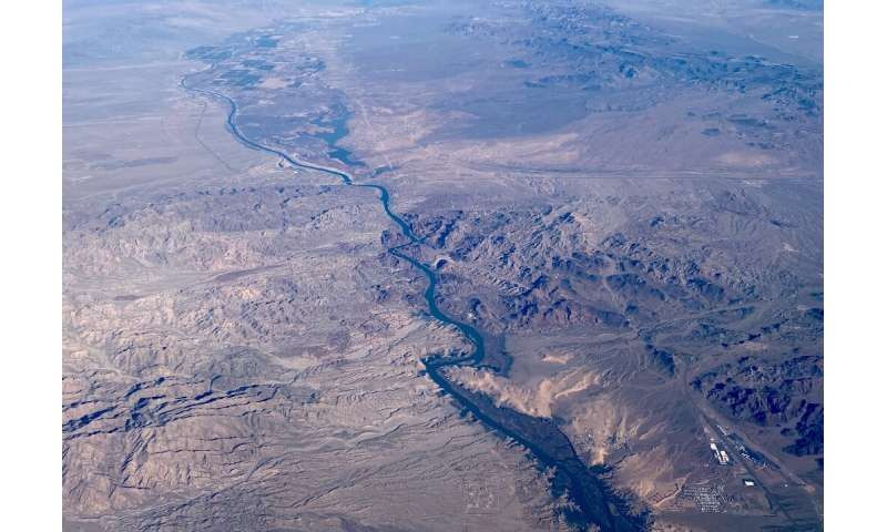 The Colorado River is seen here near Las Vegas—one of the major US cities that relies on it for its water supply