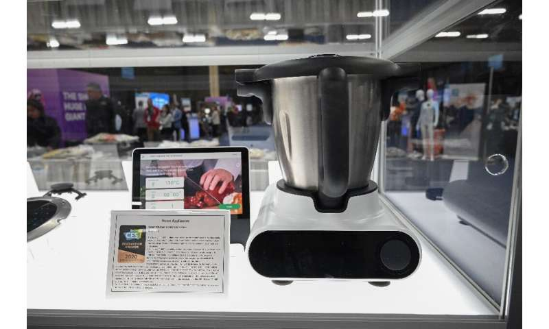 The CookingPal Julia system Smart Kitchen Hub is displayed during the CES Unveiled event at the 2020 Consumer Electronics Show