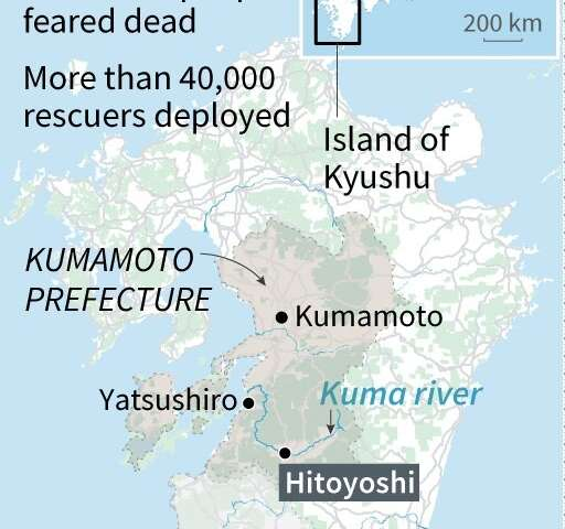 The floods have mainly affected the southwestern island of Kyushu