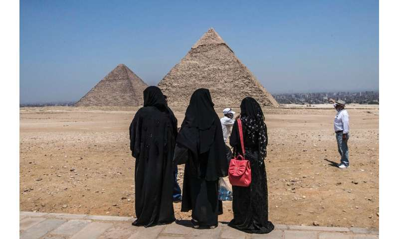 The Giza Pyramids on the southwestern outskirts of the Egyptian capital Cairo
