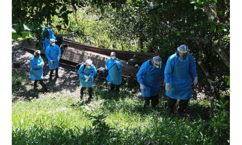 The medical team of the Brazilian Armed Forces arrives at the Cruzeirinho village, near Palmeiras do Javari, Amazonas state, to