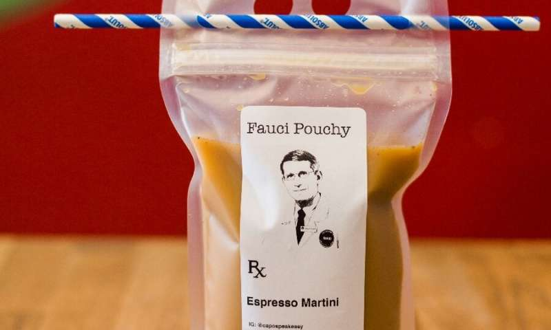 "The ""Fauci Pouchy"" cocktail is one of the offerings at Washington speakeasy Capo—it's being sold for takeout during th"