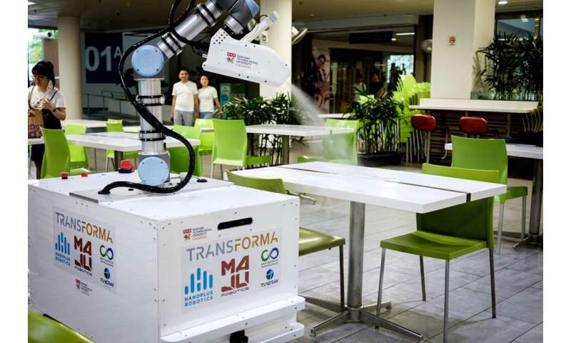 The robot can be controlled remotely with a laptop or tablet, reducing the risk to cleaners of becoming infected with the virus,