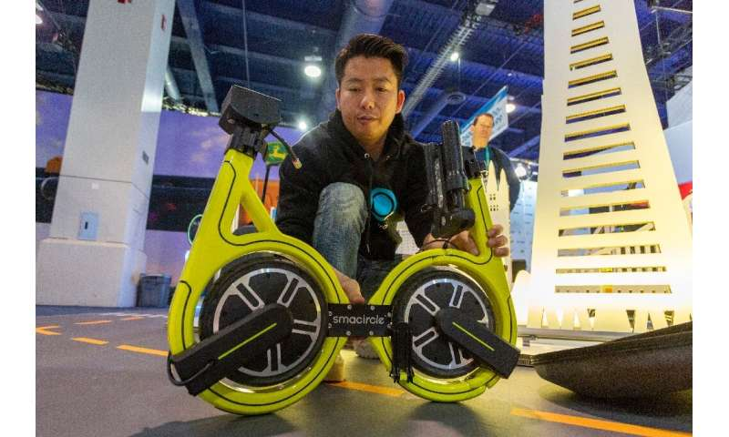 The Smacircle S1 micro-mobility bike, shown at the 2020 Consumer Electronics Show, can fold up and fit into a backpack or commut