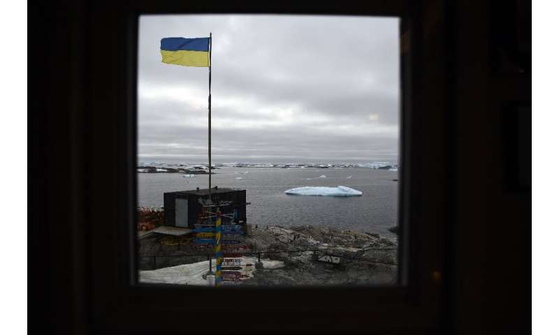 The Ukrainian flag flies proudly over the Vernadsky research base on Galindez Island, Antarctica