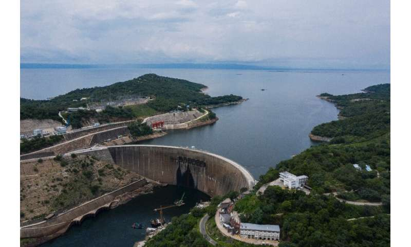 The water level at the Kariba dam has shrunk to a near-record low