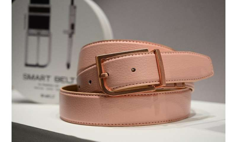 The Welt smart belt, with fall risk assessment, is displayed at the 2020 Consumer Electronics Show