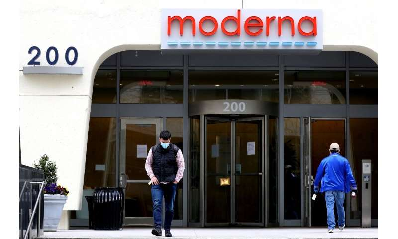 This file photo taken on May 8, 2020 shows the headquarters of the Moderna biotechnology firm in Cambridge, Massachusetts; the U