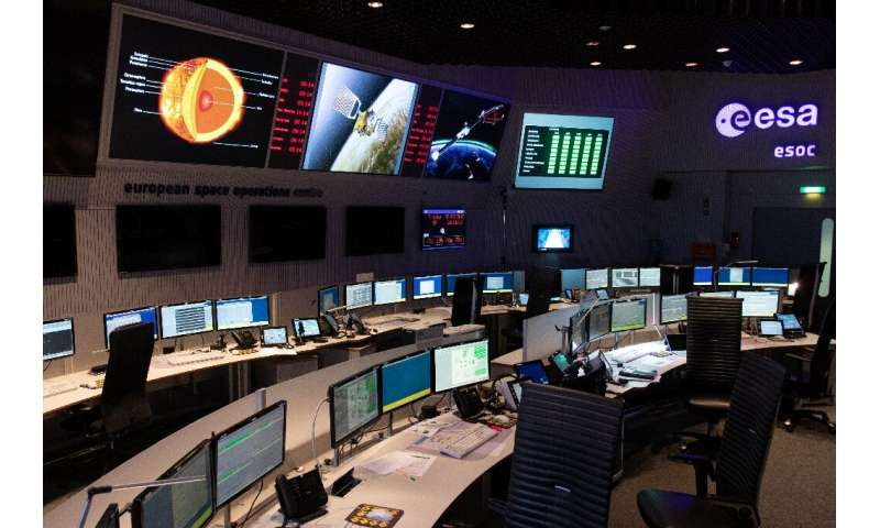 This is the main control room of the European Space Operations Center in Darmstadt, Germany, which will control the mission of t