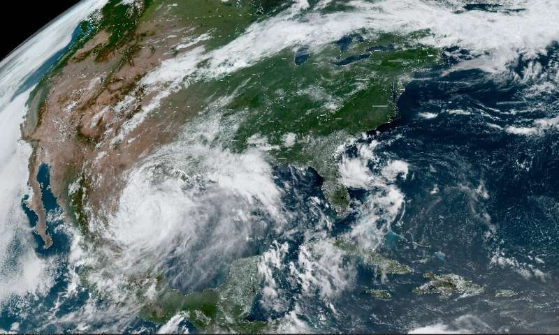 This RAMMB/NOAA satellite image obtained on June 26, 2020 at 15:16 UTC shows Hurricane Hanna in the Gulf of Mexico