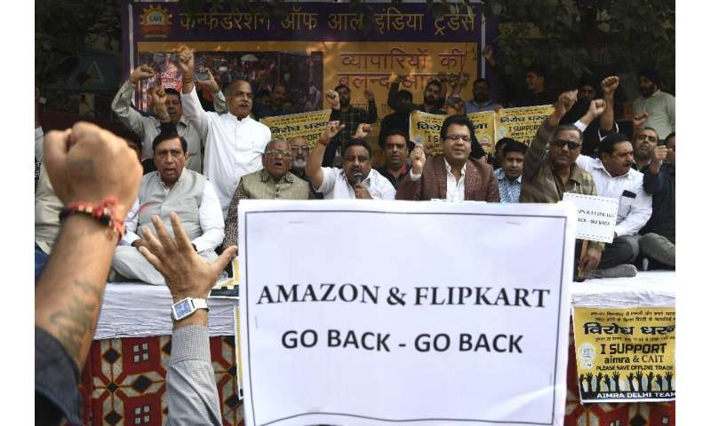 Traders protested in November 2019 against the market dominance of e-commerce giants Amazon and Flipkart