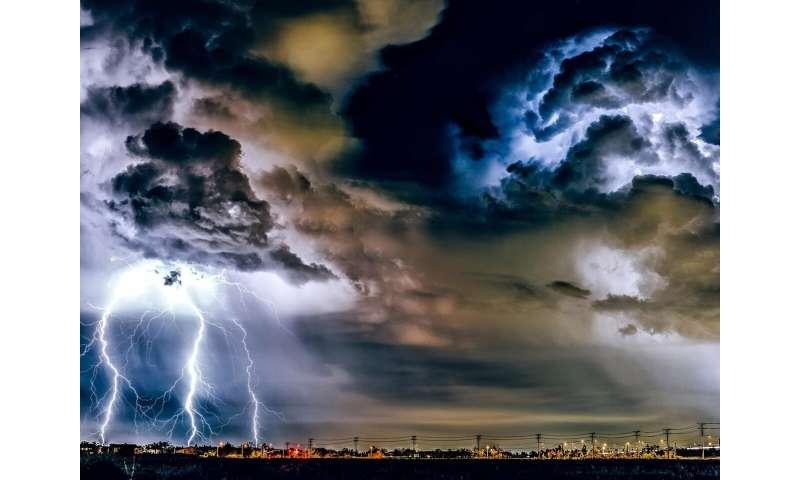 Urban land and aerosols amplify hazardous weather, steer storms toward cities