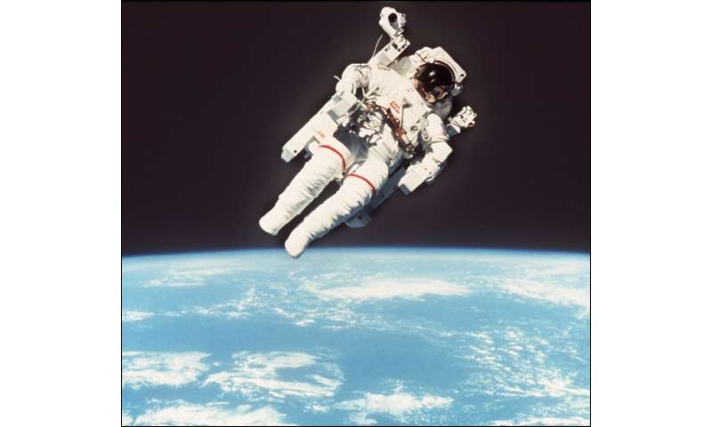US astronaut Bruce McCandless flies freely and untethered in space, on February 7, 1984