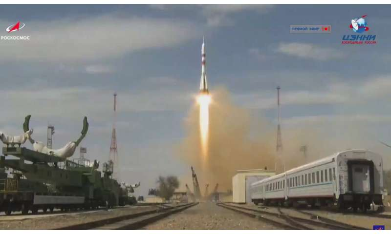US-Russian crew blasts off for International Space Station