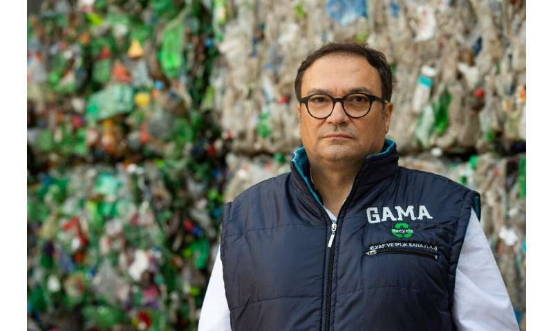 Zafer Kaplan GAMA Recycle imports huge bales of plastic waste that is turned into thread for clothes and fabrics