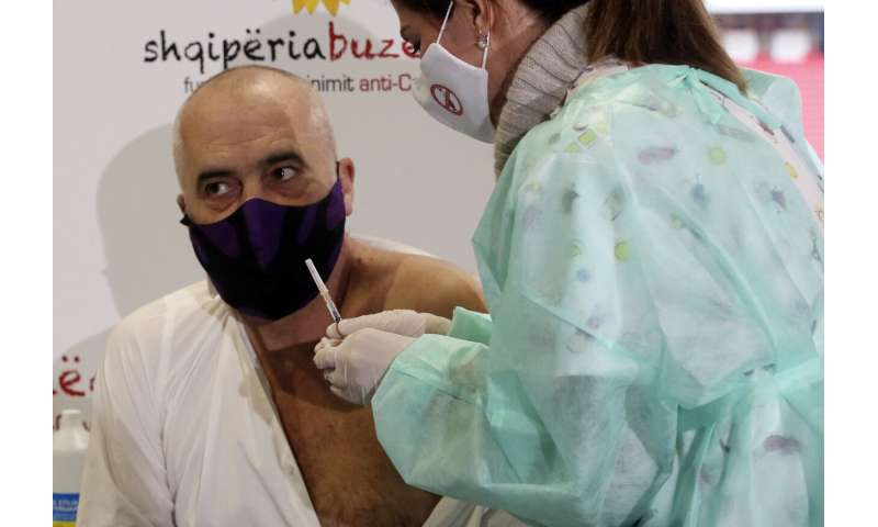 Albania carries out 1st vaccinations with donated doses